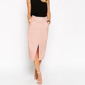 ASOS Linen Split Front Pencil Skirt Size 4